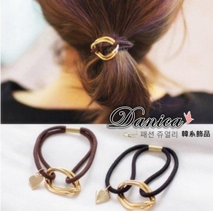 髮束 現貨 韓國連線 熱賣 氣質 甜美 手作 簡約 金屬感 幾何 愛心髮飾 K7329 單個價  Danica 韓系飾品