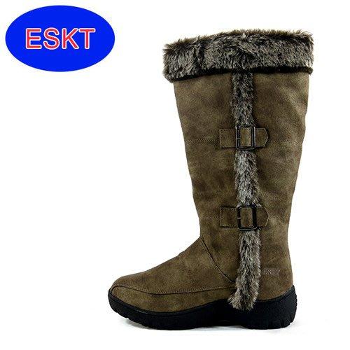 丹大戶外【ESKT】女高筒保暖內刷毛直筒雪靴/雪鞋/專利冰爪/耐磨防滑鞋底 SN164 可可色