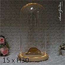 Sweet Garden, 15*高30cm玻璃罩+帶燈原木底座 LED燈 送電池
