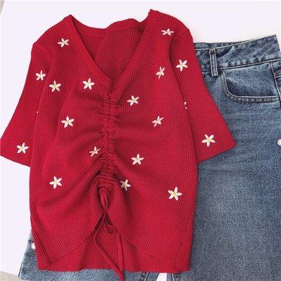 ZUI靚的泫雅女孩 設計師 小性感刺繡花朵抽繩顯瘦緊身針織上衣T恤