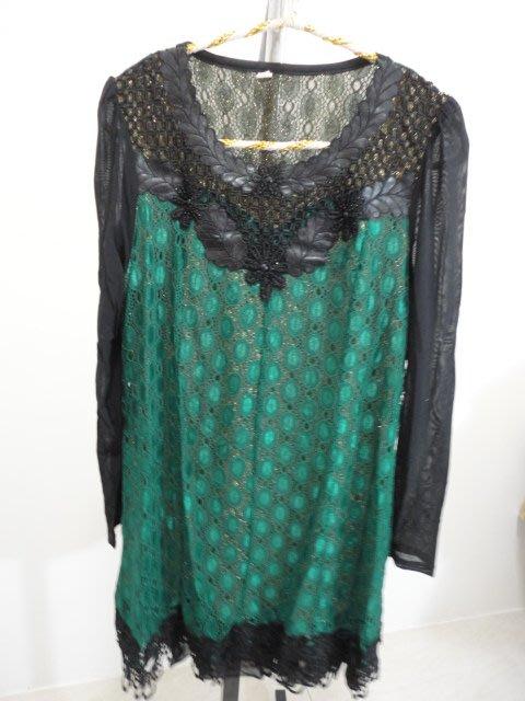 99元起標~華麗簍空蕾絲長袖洋裝~SIZE:4XL(190/108A))版偏小