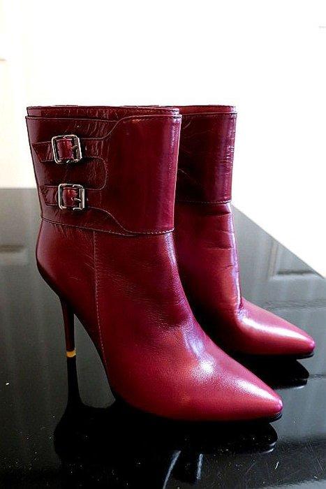 *Beauty*真皮紫紅色高跟尖頭短靴23.5號  CR