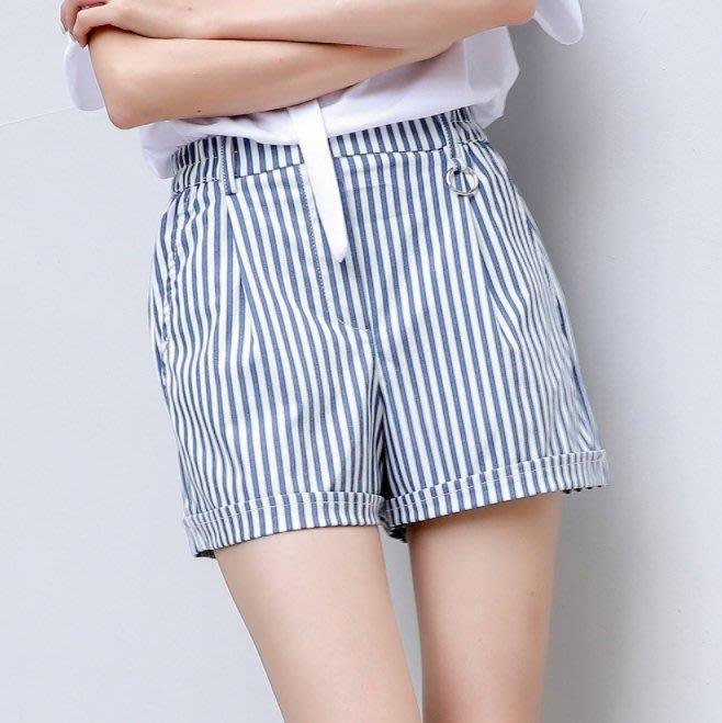 小資女必備款 女生短褲 韓版條紋短褲 藍白條紋 條紋短褲 短褲 女生 闊腿褲 顯瘦 學院風 【GM10】