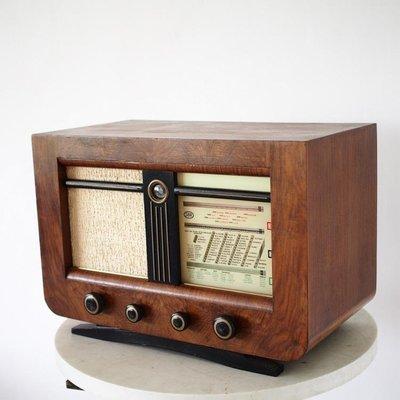 百寶軒 西洋老物件比利時SBR古董電子管收音機220V有信號音收不到臺擺件 ZG3530