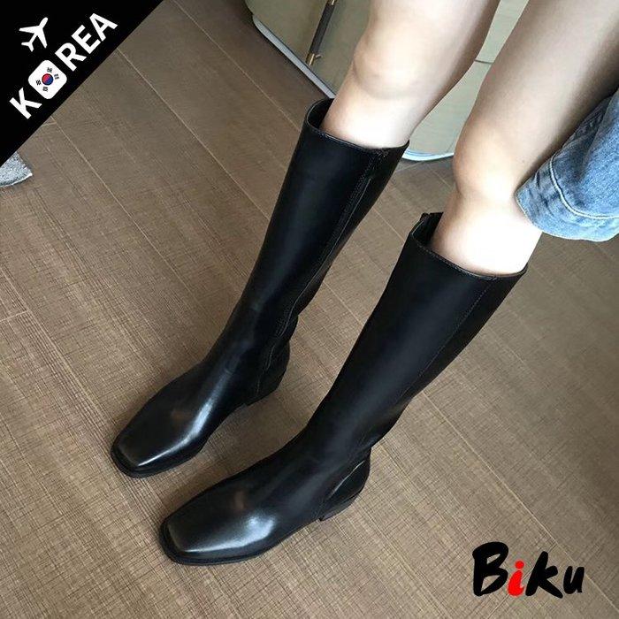 BIKU SHOES 韓國氣質瘦瘦靴 方頭側拉鍊顯瘦顯腿長及膝高筒靴 長靴