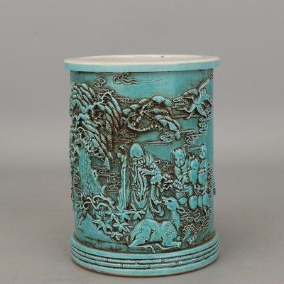 百寶軒 大清同治雕塑大師王炳榮款雕刻松樹壽星童子人物紋筆筒仿古瓷器 ZD2547