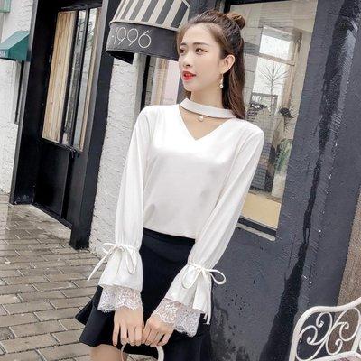 2019春裝新款時尚雪紡衫喇叭袖蕾絲拼接洋氣甜美小衫打底上衣女潮