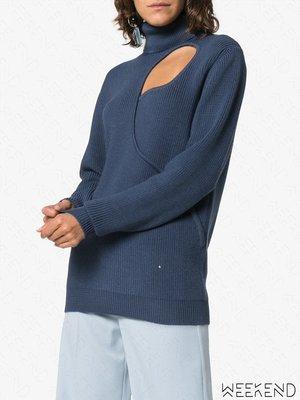 【WEEKEND】 ESTEBAN CORTAZAR 低胸 挖空 高領 針織 寬鬆 長袖 上衣 藍色