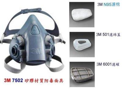 3M 7502 防毒面具  - 口罩 噴漆 烤漆 面具 防毒 活性碳 濾毒 防塵 有機 N95 -