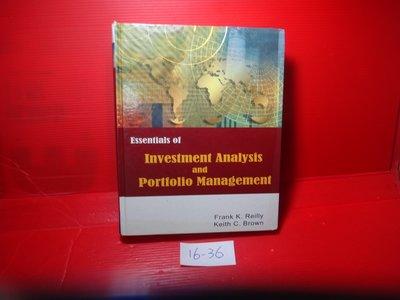【愛悅二手書坊 16-36】Essentials of Investment Analysis And-