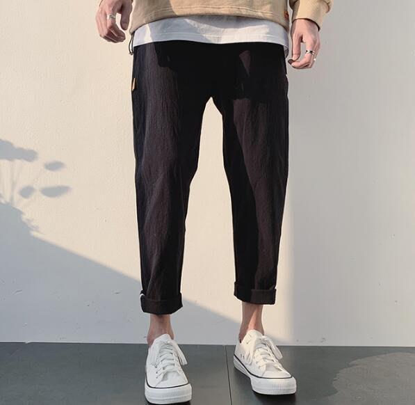 韓系新款薄款九分休閑褲 男潮牌寬松彈力垂感小腳工裝褲子 C110