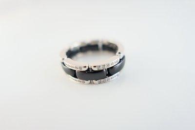 [吉宏精品交流中心]CHANEL 香奈兒 ULTRA 白K金 黑色陶瓷 原鑲鑽石 59號 戒指
