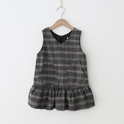 【VIAN】含運Y女童背心裙 楊梅2019春季新款 韓版格子連衣裙V領荷葉邊裙子