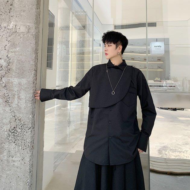 FINDSENSE 2019 秋季上新 G19 日系暗黑寬鬆不規則疊門襟襯衫 黑色白色素面襯衫 男裝 上衣