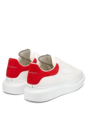 [歐洲空運預購]  Alexander McQueen Raised-sole low-top 麥坤紅麂皮厚底增高鞋