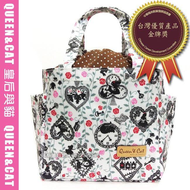 貝格美包館 束口便當包 AL 白底愛麗絲玫瑰 Queen&Cat 台灣製防水包 手提袋 滿額免運 現貨超取天天出貨