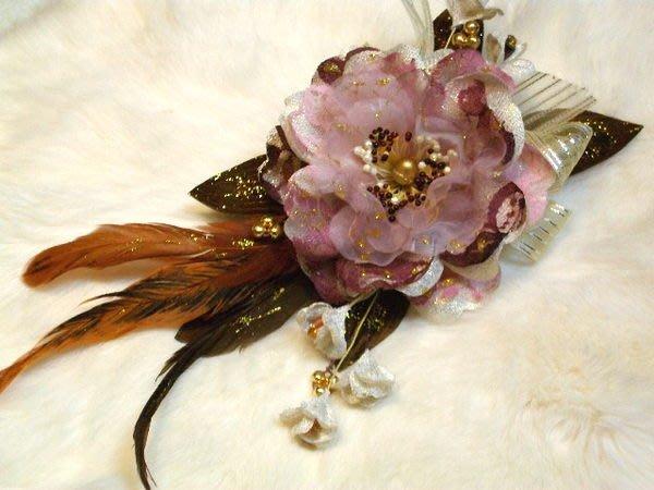 B. & W. world *美美的花飾*R13026*水藍色野玫瑰、桔色玫瑰、咖啡色花**迷人、嬌豔、高貴