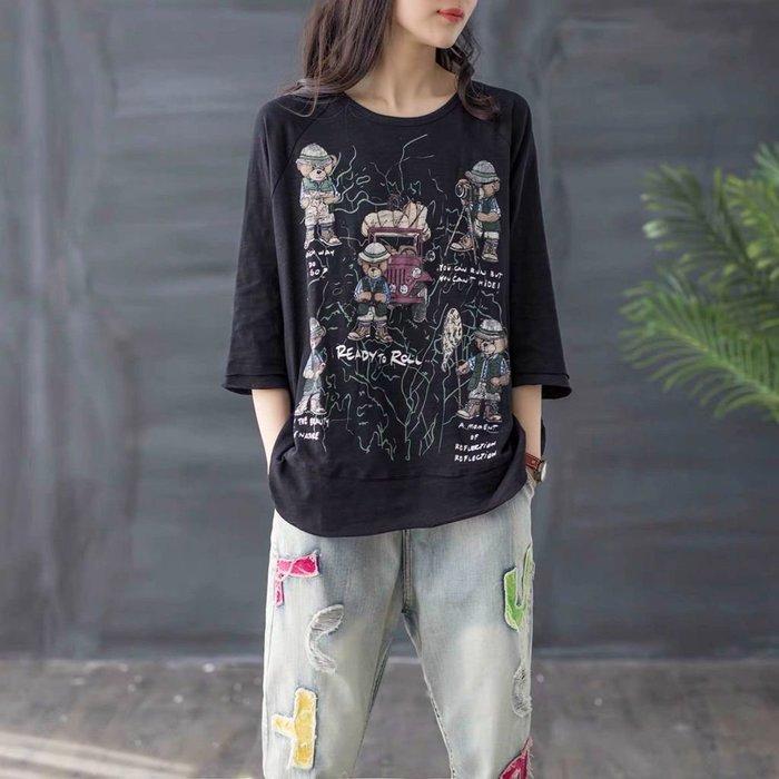 韓國夏季卡通動漫印花竹節棉T恤女新款大碼五分袖微胖m圓領體恤衫
