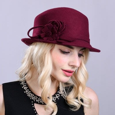 羊毛呢帽 禮 帽-歐美時尚優雅花朵女帽子3色73tk49[獨家進口][巴黎精品]