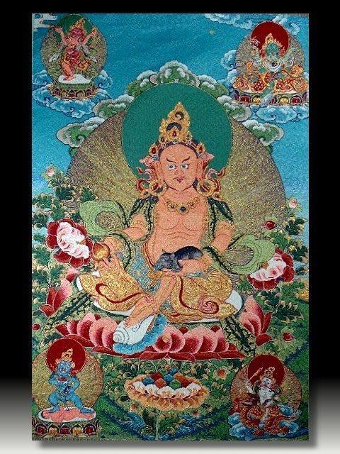 【 金王記拍寶網 】S639 中國西藏藏密佛像刺繡唐卡 黃財神 密宗唐卡一張 完美罕見~