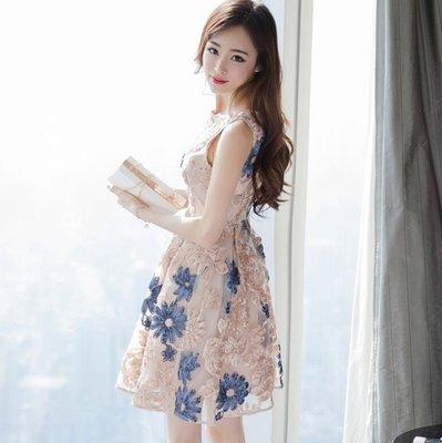 婚禮洋裝 新款韓版修身時尚網紗繡花無袖背心裙 連身裙 女A字裙 短裙子—莎芭