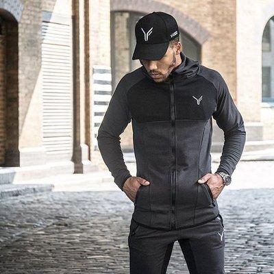 肌肉兄弟 運動外套 型男拼接連帽衛衣 跑步健身訓練服上衣  拉鏈衫—莎芭