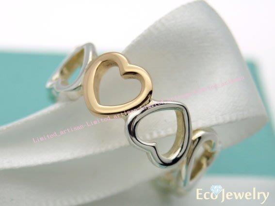 《Eco-jewelry》【Tiffany&Co】新款玫瑰金愛心相連雙色戒指 純銀925戒指~專櫃真品已送洗