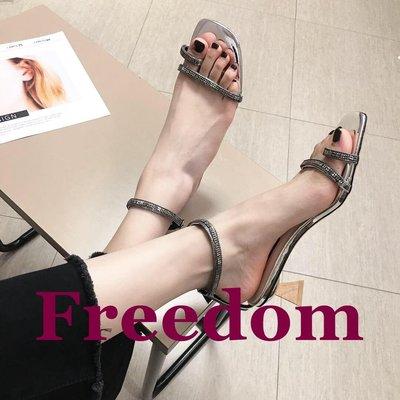 Freedom女鞋仙女的鞋2019夏季新款性感一字扣細帶高跟鞋女粗跟百搭中跟涼鞋女