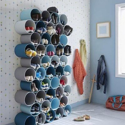 創意鞋架管道收納盒PVC特色製作DIY家居收納(1組5個)_☆找好物FINDGOODS☆