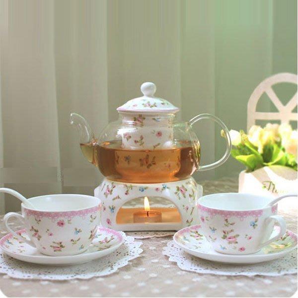 5Cgo【茗道】含稅會員有優惠 25328772119 田園花果茶玻璃茶具陶瓷過濾芯帶加熱底座煮花茶壺茶杯套裝 9件套
