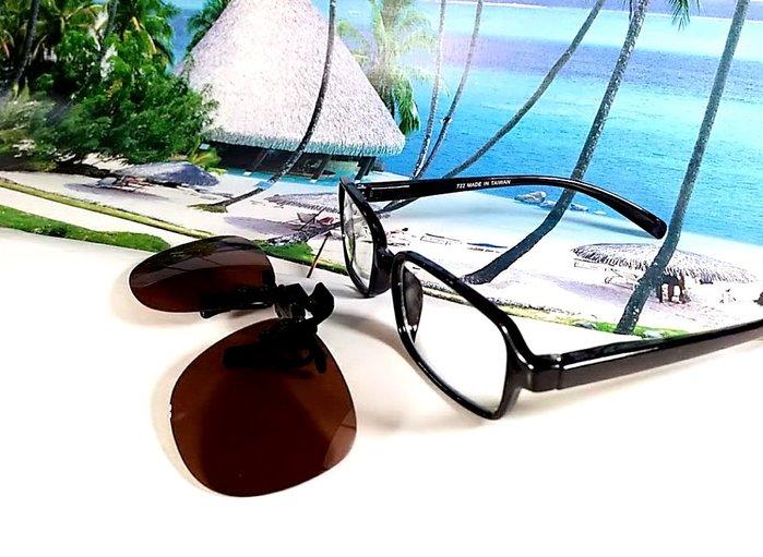 天王星精品 偏光太陽眼鏡夾片 小型圓款 40MM 掛式太陽眼鏡 輕巧 偏光夾片/ 夾式太陽眼鏡 今夏必備 開車 休閒必備