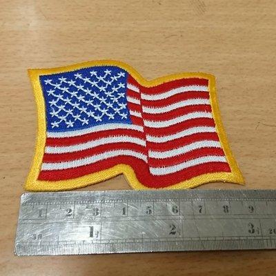 刺繡臂章-waving us flay gold border黃邊飄揚美國旗🇺🇸-15-原價30元限量促銷20元