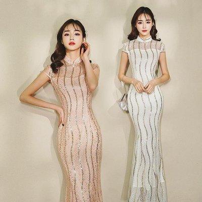 日和生活館 蕾絲亮片魚尾裙長版旗袍宴會禮服修身兩色連身裙S686