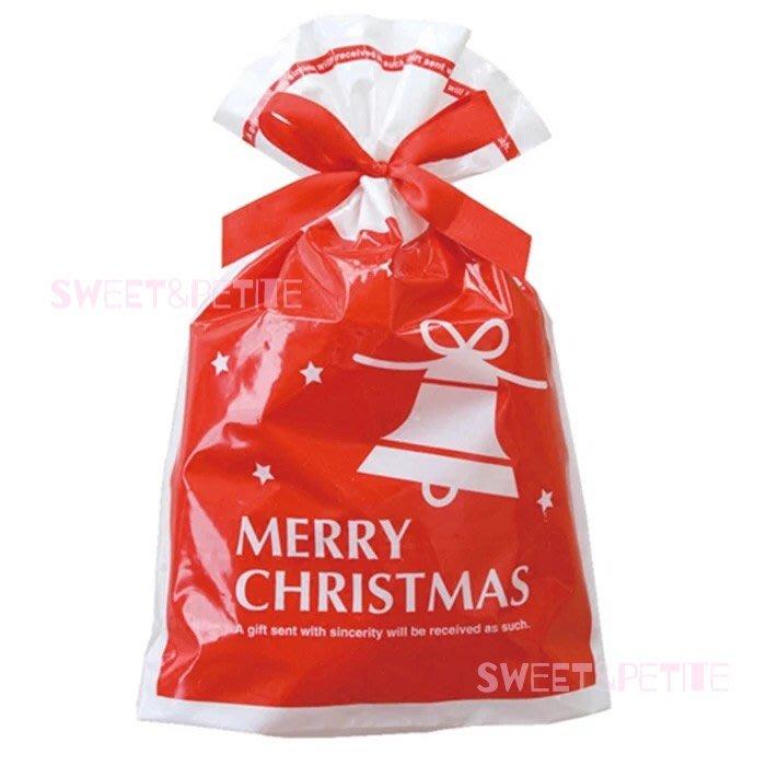 預購MA101❤(M)5個/紅色聖誕節鈴鐺圖樣束口包裝袋❤ 禮品袋 束口繩 包裝袋  派對糖果餅乾袋 聖誕交換禮物袋