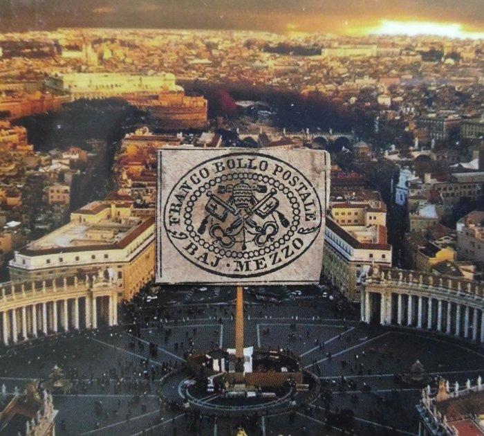 (極品珍藏!) 義大利 羅馬國家(Roman States)梵蒂岡 1852年(首套郵票第一枚).½ baj (1A)