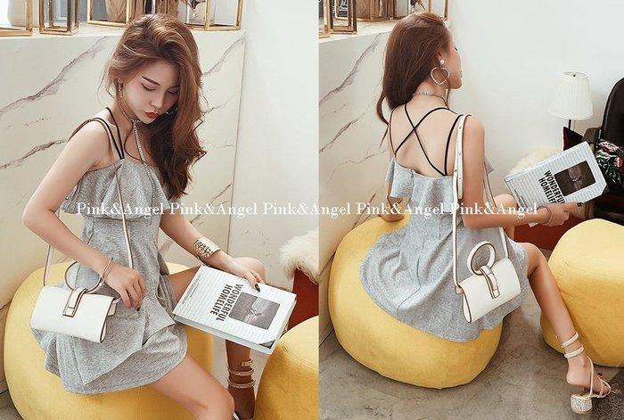 ❤Pink&Angel❤【352128】荷葉邊氣質顯瘦一字領露肩收腰細吊帶連身裙。灰色。現+預