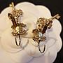 限量款式【全新】chanel耳環 水鑽琺瑯珍珠  粉+金色 限量款 垂墜耳環