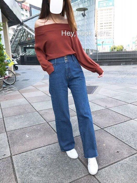 Hey, look here 韓版 逆天長腿褲管抓鬚翹臀三釦高腰牛仔寬褲