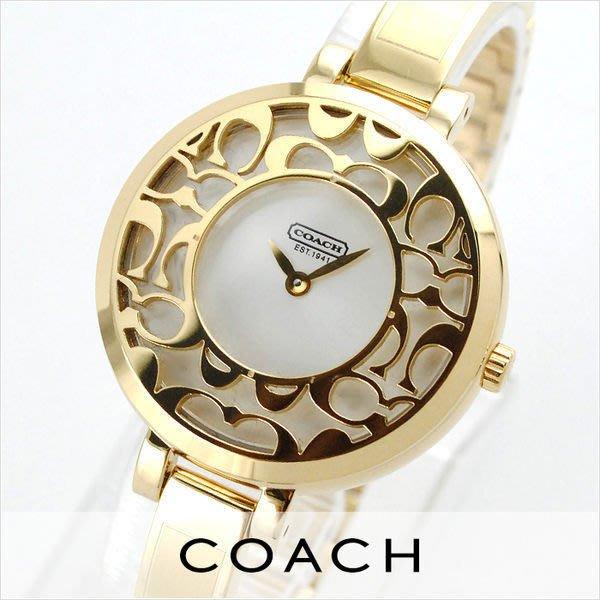 【Woodbury Outlet Coach 旗艦館】COACH 14501432 手鐲女錶鏤空不銹鋼手錶 美國代購100%正品