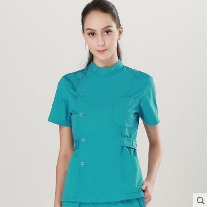 护士服口腔医生服分体套装长短袖夏冬装牙科工作服洗手衣手术衣【湖藍短袖】
