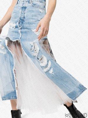 【WEEKEND】 限時折扣 UNRAVEL Denim Tulle 破壞 蕾絲 拼接 牛仔 裙子 長裙 藍色 折扣