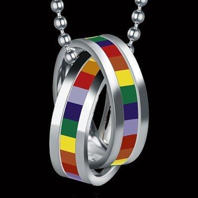 F0023 彩虹項鍊  316鋼 TP 蕾絲邊 同性 熊 BOTH LES GAY 和平 手鍊 手環 項鍊