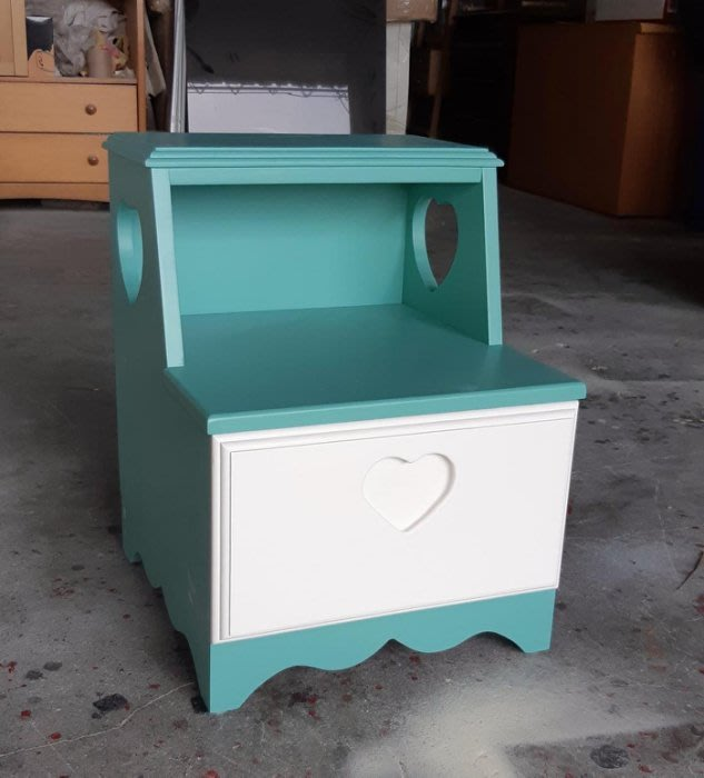【現貨限量品】美生活館 全新紐松原木心型單抽階梯式收納櫃 樓梯櫃置物櫃 電話櫃 穿鞋椅--藍綠+白雙色