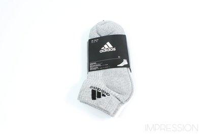 【IMPRESSION】ADIDAS 3-STRIPES SOCKS 黑灰白 棉質 三雙一組 短襪 男女 運動襪
