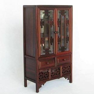 INPHIC-微縮家具 微型 明清家具模型 紅酸枝帶玻璃帶門書櫥