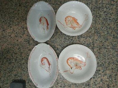 早期的蝦仔碗四個一組,含圓形的二個,直徑22cm,橢圓形的二個,長27cm,寬18.5cm,希少