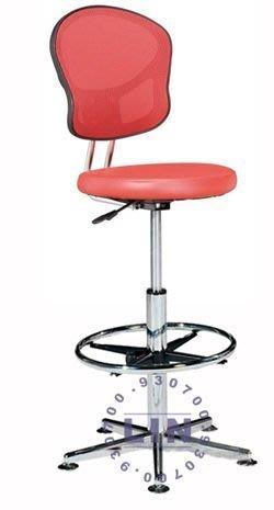 【品特優家具倉儲】R019-09吧台椅洽談椅620五爪固定腳踏圈網背吧台椅