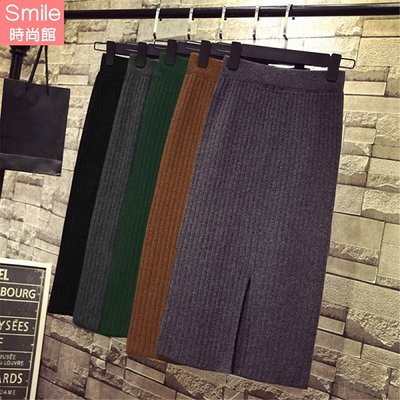 【V2737】SMILE-復古美感.開叉針織包臀中長款半身裙