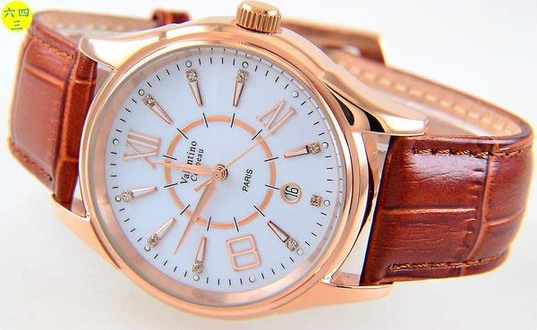 (六四三精品)范侖鐵諾(真品)大錶徑.時.分.秒大三針及日期功能.自動上鍊機械錶.玫瑰金!