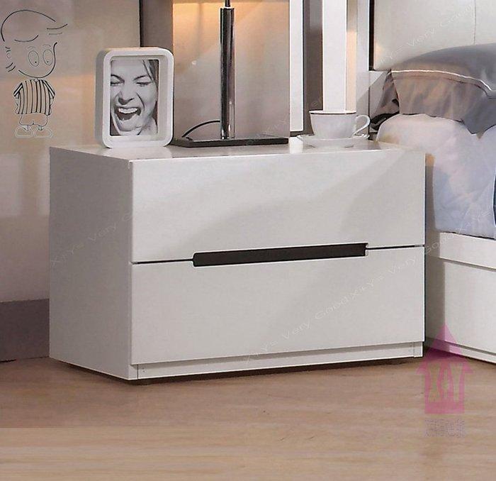 【X+Y時尚精品傢俱】現代櫥櫃系列-波爾卡 1.9尺白色床頭櫃.新型45度斜面把手.摩登家具